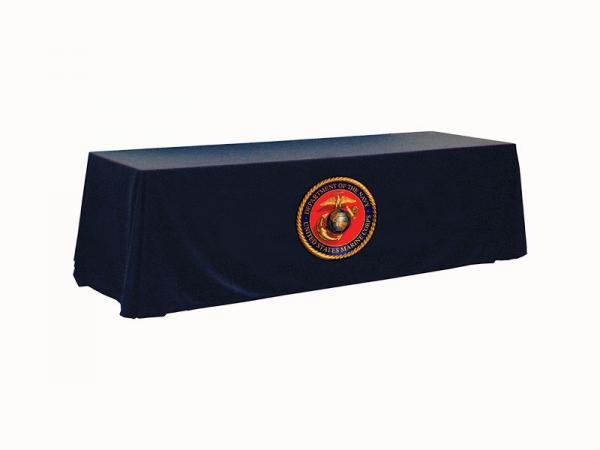 "8ft Twill Table Throw - Dye Sublimation Logo Applique - Applique logo Max Size 45""w x 25""h"