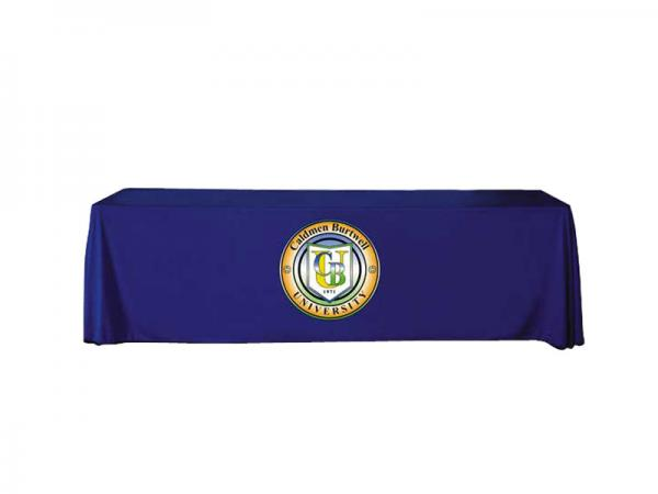 "8ft Twill Table Throw - Dye Sublimation Logo Applique - Applique logo Max Size 45""w x 25""h - Round Logo Applique Shown - Custom Shapes Available"