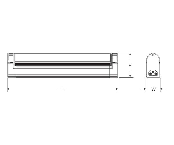 Slim Line LED Light Fixture - Line Drawing