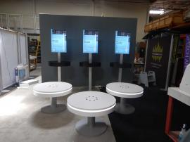 RENTAL: (3) RE-702 Charging Stations with White Laminate Finish, and (3) RE-707 Charging Stations with Black Laminated Counter Tops, and Double-Sided Backlit Silicone Edge Fabric Graphics -- Image 1