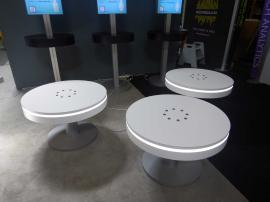 RENTAL: (3) RE-702 Charging Stations with White Laminate Finish, and (3) RE-707 Charging Stations with Black Laminated Counter Tops, and Double-Sided Backlit Silicone Edge Fabric Graphics -- Image 2