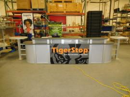 Custom Reception Counter with Backlit LED Logo, Locking Storage, USB Charging Ports, and Modular Construction