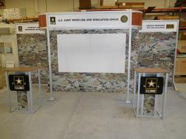 Custom eSmart Sustainable Inline with Graphics, Projection Screen, and (2) ECO-26C Modular Pedestals