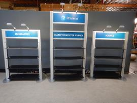 RENTAL: Includes (3) Modified RE-1253 Freestanding Shelf Displays with Black Laminated Shelves and Direct Print Sintra Header Graphics