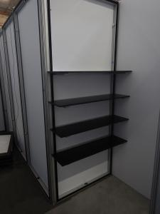 RENTAL: RE-2064 10� x 20� Gravitee One-Step Design with Storage Closet, Closet Shelving, RE-1558 Reception Counter, LED Arm Lights, and Silicone Edge Fabric Graphics