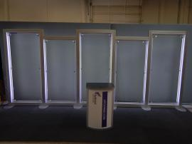 RENTAL: Custom Backwall with LED Backlighting, and RE-1221 Counter (Built to match existing graphics)