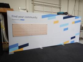 RENTAL: Backwall with Silicone Edge Fabric Graphic (SEG), and Direct Print Sintra Stand-Off Graphic with Wooden Pegs