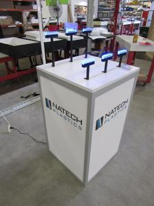 Custom Product Display Counter with LED Lighting, Graphics, and Locking Storage