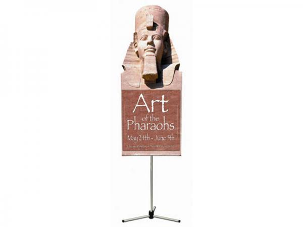 "Summit Telescopic Banner Stand - Silver - Shown with Profile Shaped Lambda Graphic - 24""w x 58""h"
