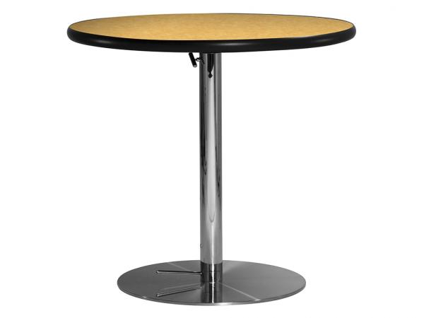 "30"" Round Cafe Table w/ Brushed Yellow Top and Hydraulic Base (CECA-030)