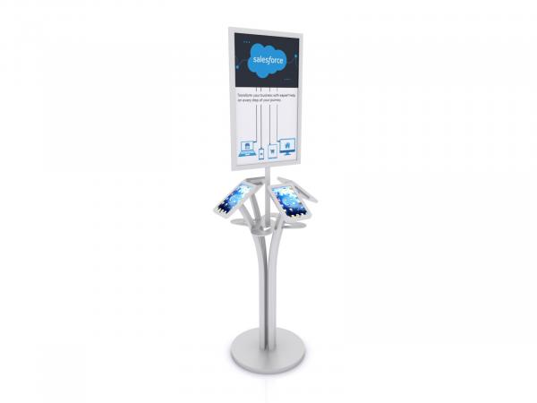 MOD-1347 Portable iPad Kiosk with Signholder-- Silver -- Laminated Base with Wire Management