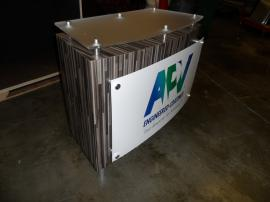 MOD-1162 Counter with Locking Storage, Graphics, and Custom Fabric-lined Crate -- Image 1