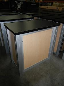 RENTAL:  (60) RE-1227 Rectangular Counters and (4) RE-1202 Counters with Locking Doors,  Internal Shelves, Laminated Infills, and Pegboard Back Panels for Ventilation -- Image 2