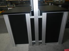RENTAL:  RE-1233 Double-Sided Rectangular Counter Kiosks with Locking Doors and Interior Shelves -- Image 3