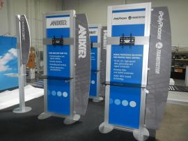 Custom Kiosks with Laminated Shelves, Large Monitor Mounts, and Graphic Wing Panels -- Image 1