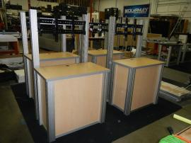 RENTAL: (4) RE-1232 Rectangular Counter Kiosks. Includes Locking Doors, Interior Shelves, and Large Monitor Mounts -- Image 1