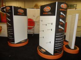 Custom Rotating Merchandising Racks with Slatwall and Graphics -- Image 1