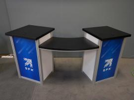 RENTAL: (2) Custom Dual Pedestal Counters with Bridged Curved Tops