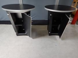 RENTAL: Includes (2) RE-1223 Tapered Counter Kiosks with Black Laminated Finish and Locking Storage