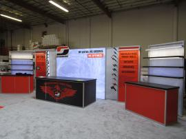 Custom Visionary Designs Exhibit with (1) VK-1968 SuperNova Lightbox, (3) Display Counters, Shevlves, Product Display Mounts, Direct and Fabric Graphics, and LED Accent Lights