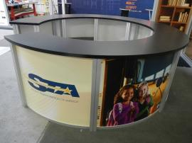 RENTAL:  RE-1226 Circular Counter with Graphics and Shelves