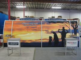 Magellan VK-2128 Portable Trade Show Display with Fabric Graphics, Monitor Mounts, Workstations, and (2) MOD-1224 Counters