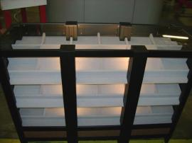 Custom Counter with Lighted Product Shelves (front)