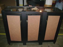 Custom Counter with Lighted Product Shelves (back)